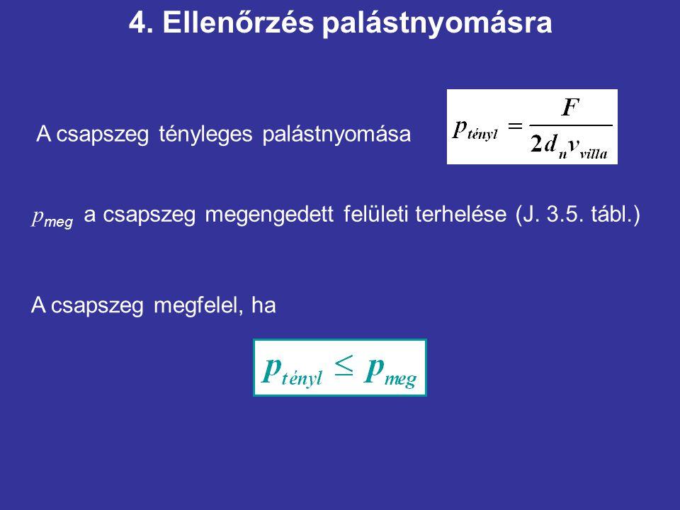 A csapszeg tényleges palástnyomása p meg a csapszeg megengedett felületi terhelése (J. 3.5. tábl.) A csapszeg megfelel, ha