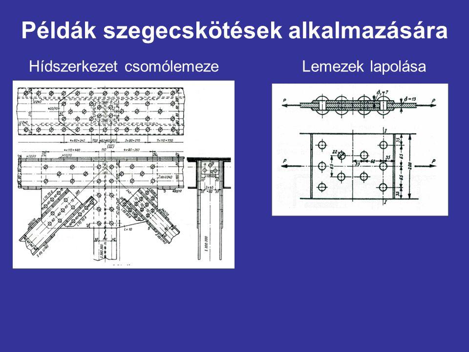 Példák szegecskötések alkalmazására Hídszerkezet csomólemezeLemezek lapolása