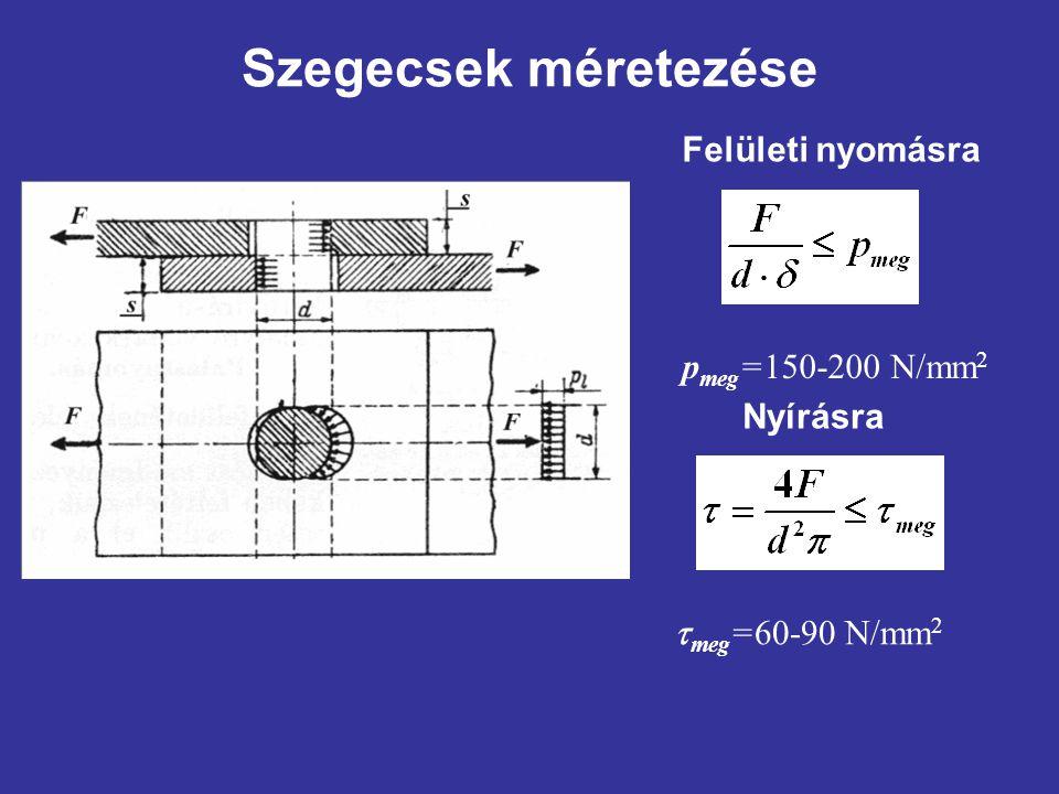 Szegecsek méretezése Felületi nyomásra p meg =150-200 N/mm 2 Nyírásra  meg =60-90 N/mm 2