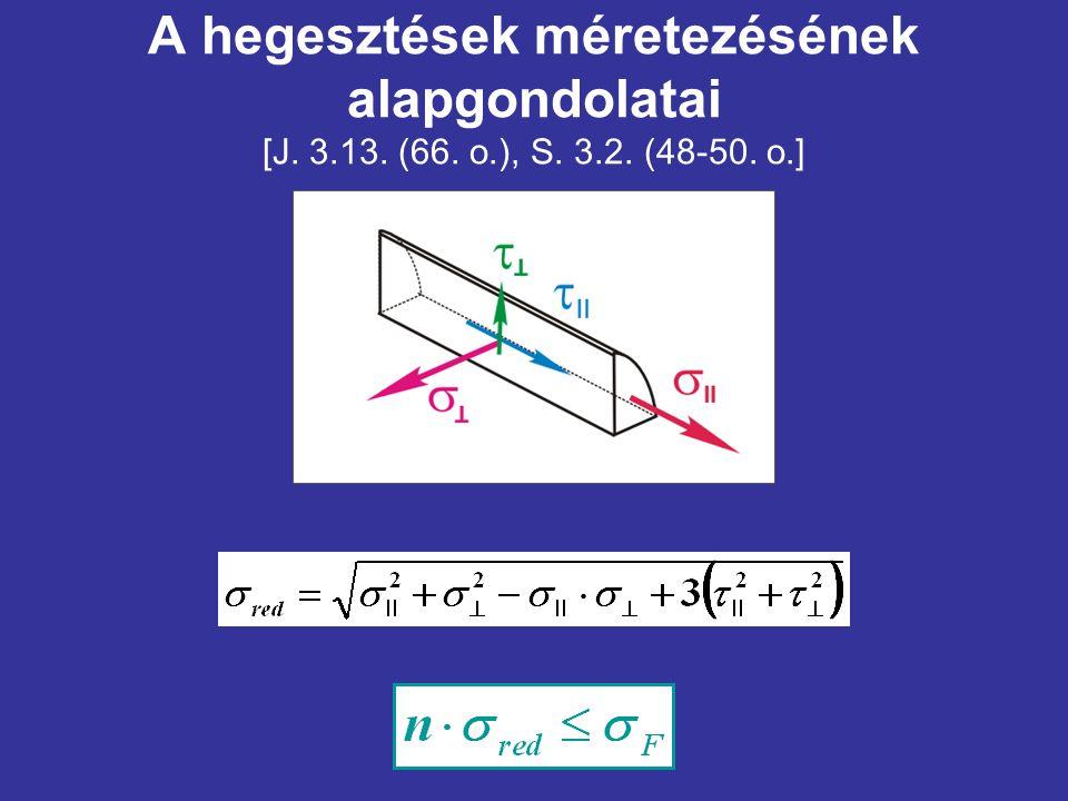A hegesztések méretezésének alapgondolatai [J. 3.13. (66. o.), S. 3.2. (48-50. o.]