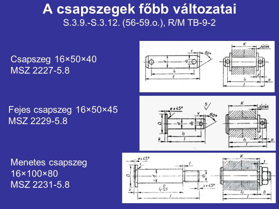 A csapszegek főbb változatai S.3.9.-S.3.12. (56-59.o.), R/M TB-9-2 Fejes csapszeg 16×50×45 MSZ 2229-5.8 Csapszeg 16×50×40 MSZ 2227-5.8 Menetes csapsze