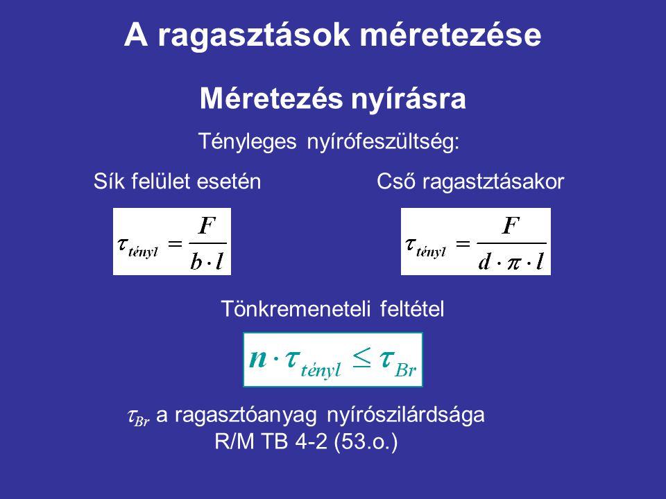 A ragasztások méretezése Méretezés nyírásra Tényleges nyírófeszültség: Sík felület eseténCső ragastztásakor Tönkremeneteli feltétel  Br a ragasztóany