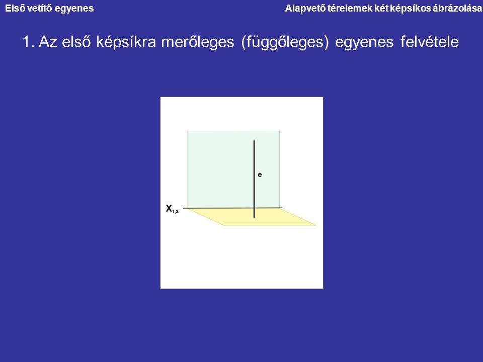 1. Az első képsíkra merőleges (függőleges) egyenes felvétele Első vetítő egyenes
