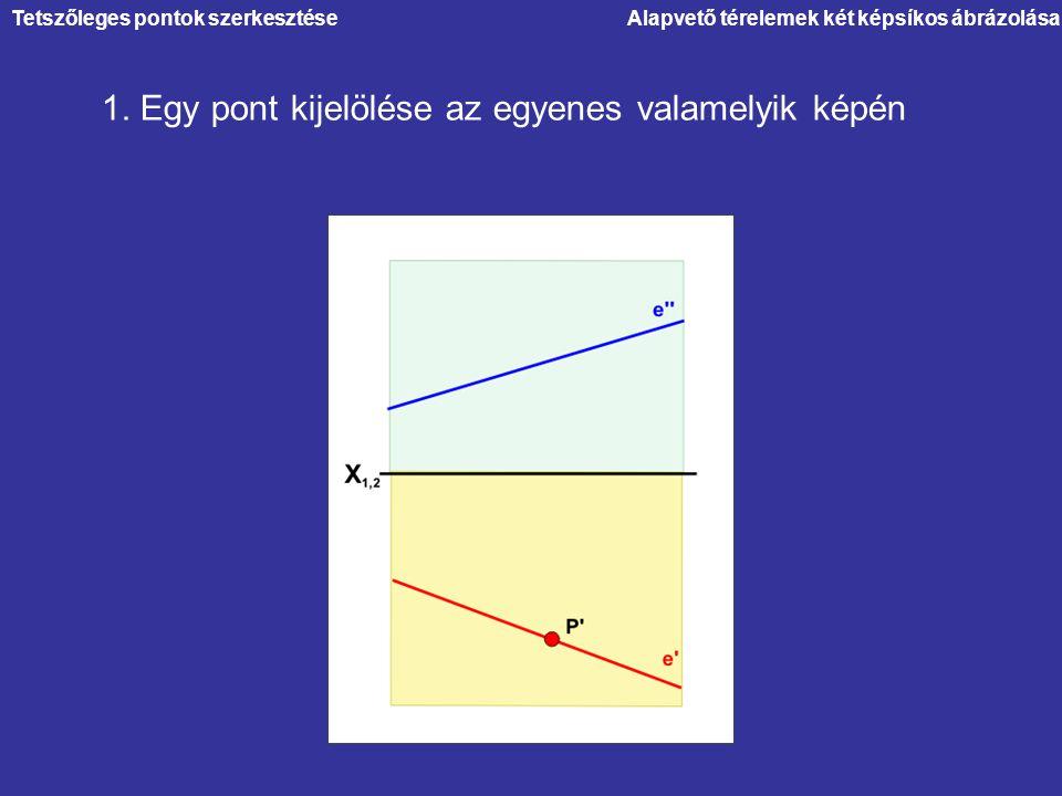 1. Egy pont kijelölése az egyenes valamelyik képén Tetszőleges pontok szerkesztése