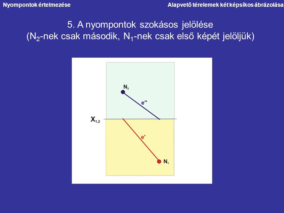 Alapvető térelemek két képsíkos ábrázolásaNyompontok értelmezése 5. A nyompontok szokásos jelölése (N 2 -nek csak második, N 1 -nek csak első képét je