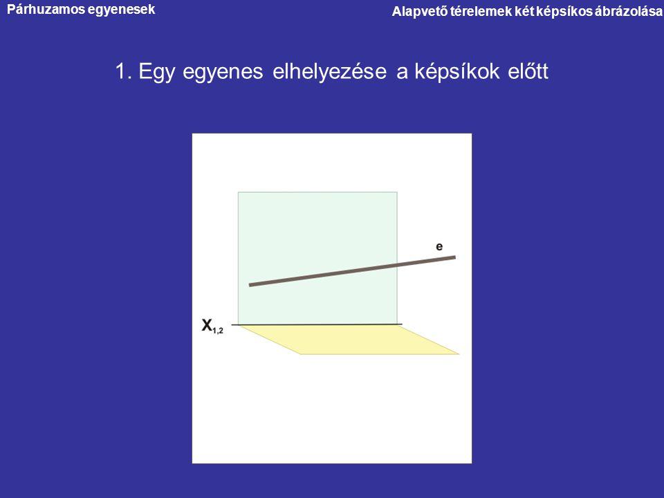 Párhuzamos egyenesek Alapvető térelemek két képsíkos ábrázolása 1. Egy egyenes elhelyezése a képsíkok előtt