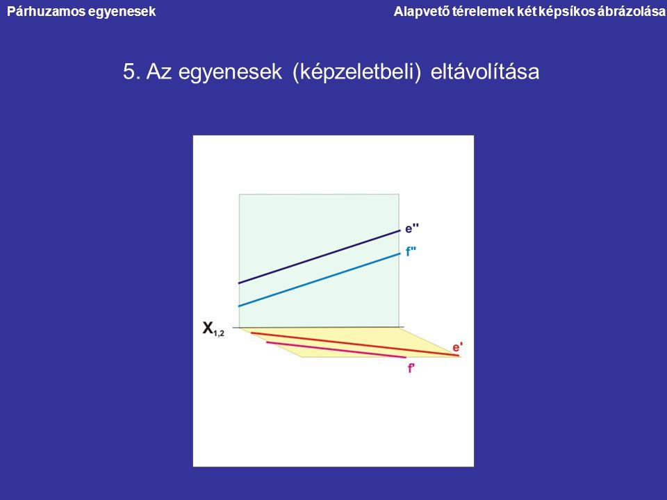 5. Az egyenesek (képzeletbeli) eltávolítása Párhuzamos egyenesekAlapvető térelemek két képsíkos ábrázolása
