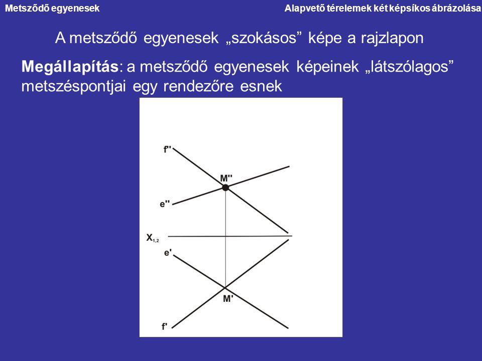 """Alapvető térelemek két képsíkos ábrázolása A metsződő egyenesek """"szokásos"""" képe a rajzlapon Megállapítás: a metsződő egyenesek képeinek """"látszólagos"""""""