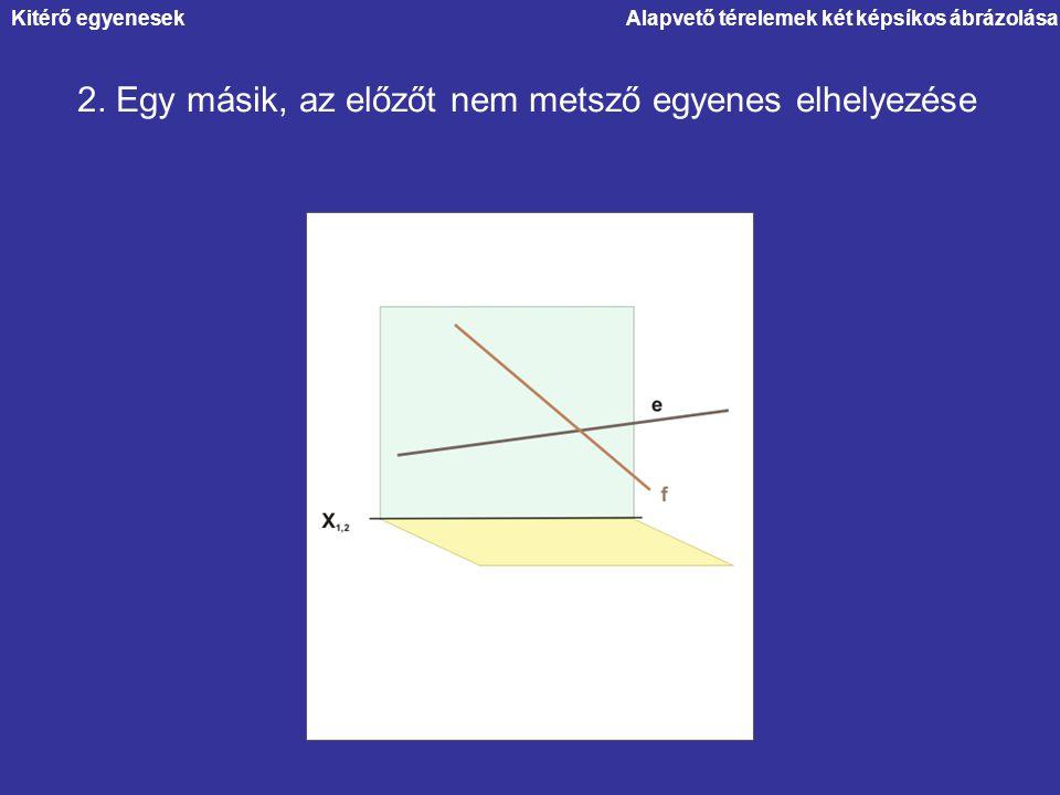 Alapvető térelemek két képsíkos ábrázolása 2. Egy másik, az előzőt nem metsző egyenes elhelyezése Kitérő egyenesek