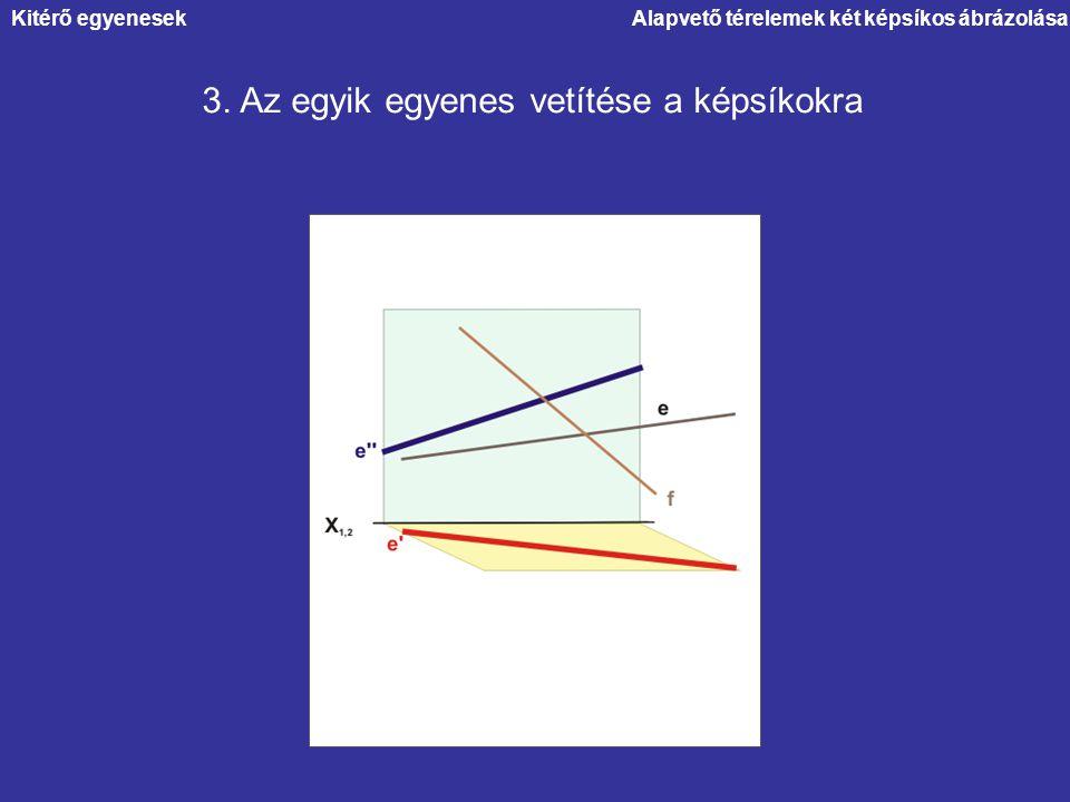 Alapvető térelemek két képsíkos ábrázolása 3. Az egyik egyenes vetítése a képsíkokra Kitérő egyenesek
