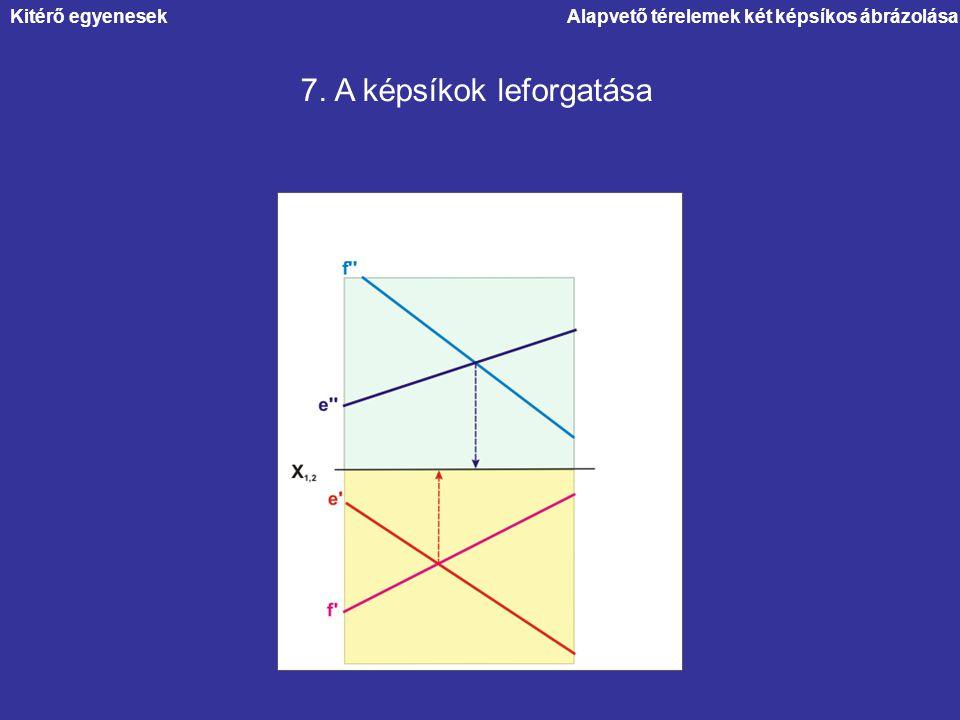 Alapvető térelemek két képsíkos ábrázolása 7. A képsíkok leforgatása Kitérő egyenesek