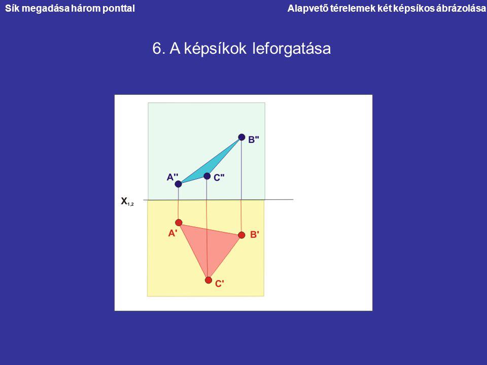 Alapvető térelemek két képsíkos ábrázolása 6. A képsíkok leforgatása Sík megadása három ponttal