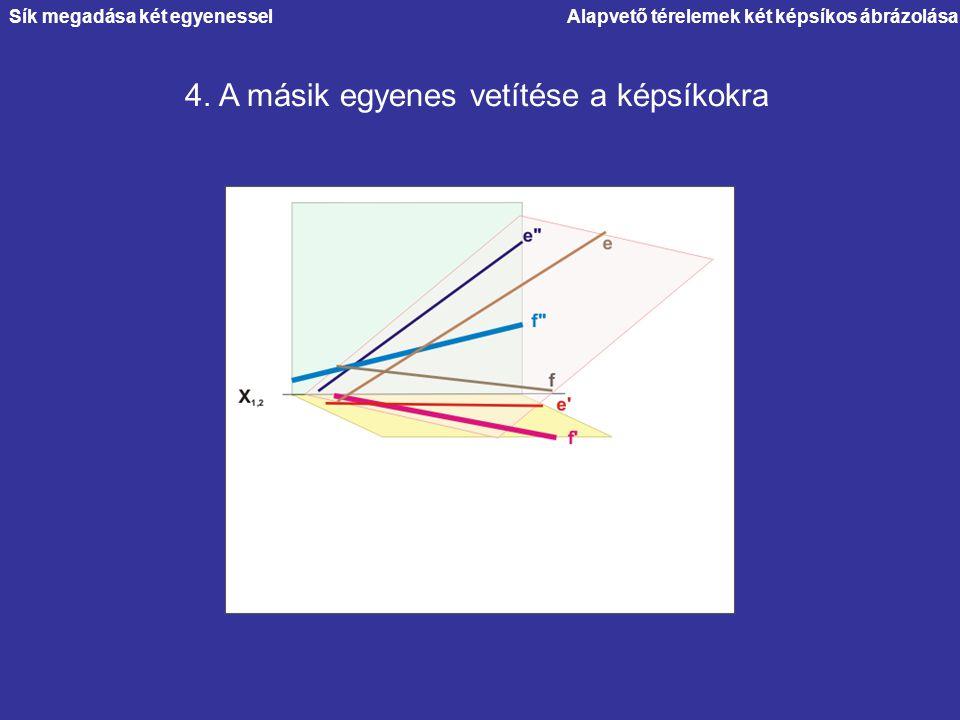 Alapvető térelemek két képsíkos ábrázolása 4. A másik egyenes vetítése a képsíkokra Sík megadása két egyenessel
