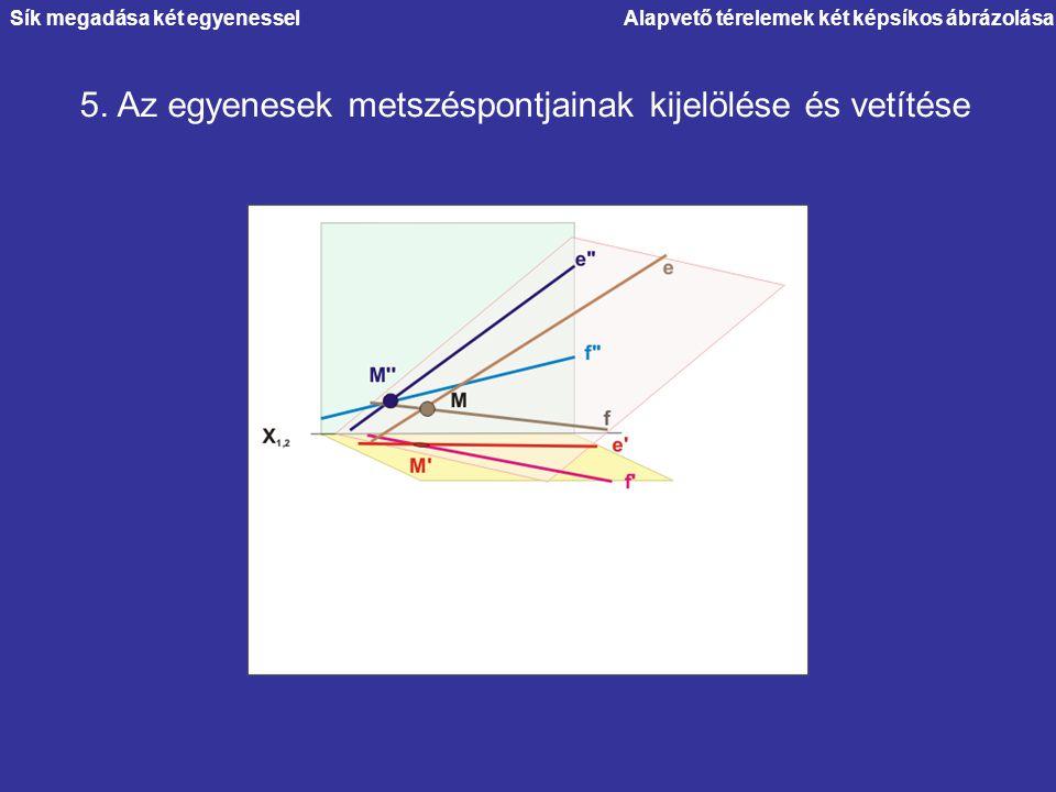 Alapvető térelemek két képsíkos ábrázolása 5. Az egyenesek metszéspontjainak kijelölése és vetítése Sík megadása két egyenessel