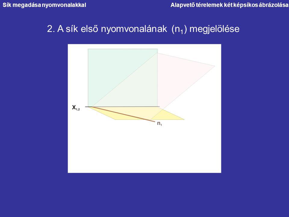 Alapvető térelemek két képsíkos ábrázolása 2. A sík első nyomvonalának (n 1 ) megjelölése Sík megadása nyomvonalakkal