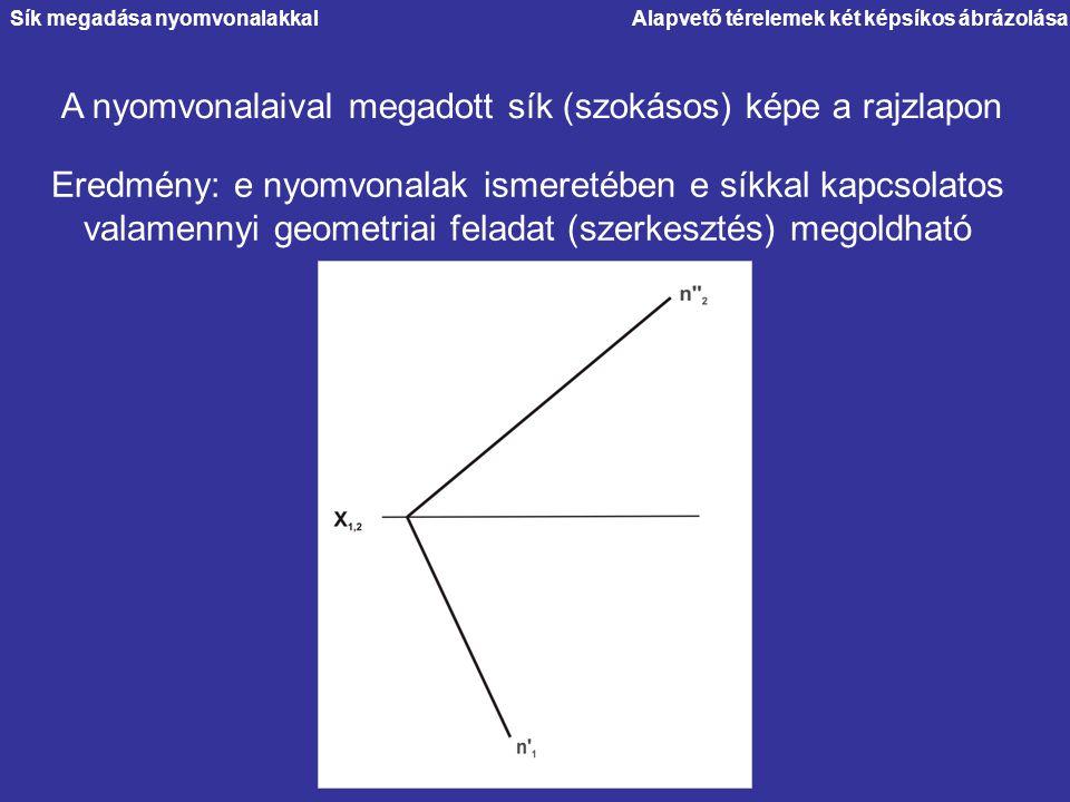 Alapvető térelemek két képsíkos ábrázolása A nyomvonalaival megadott sík (szokásos) képe a rajzlapon Eredmény: e nyomvonalak ismeretében e síkkal kapc