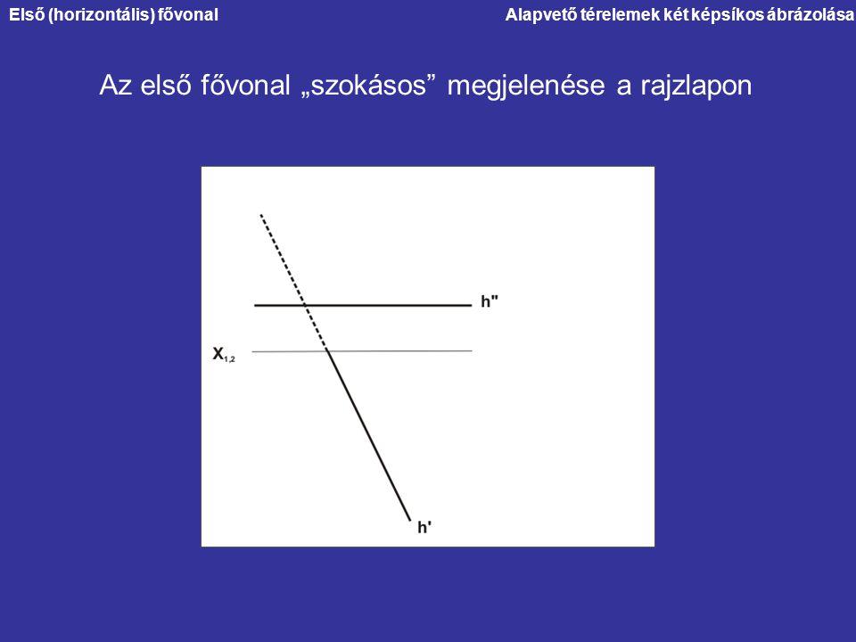 """Alapvető térelemek két képsíkos ábrázolása Az első fővonal """"szokásos"""" megjelenése a rajzlapon Első (horizontális) fővonal"""