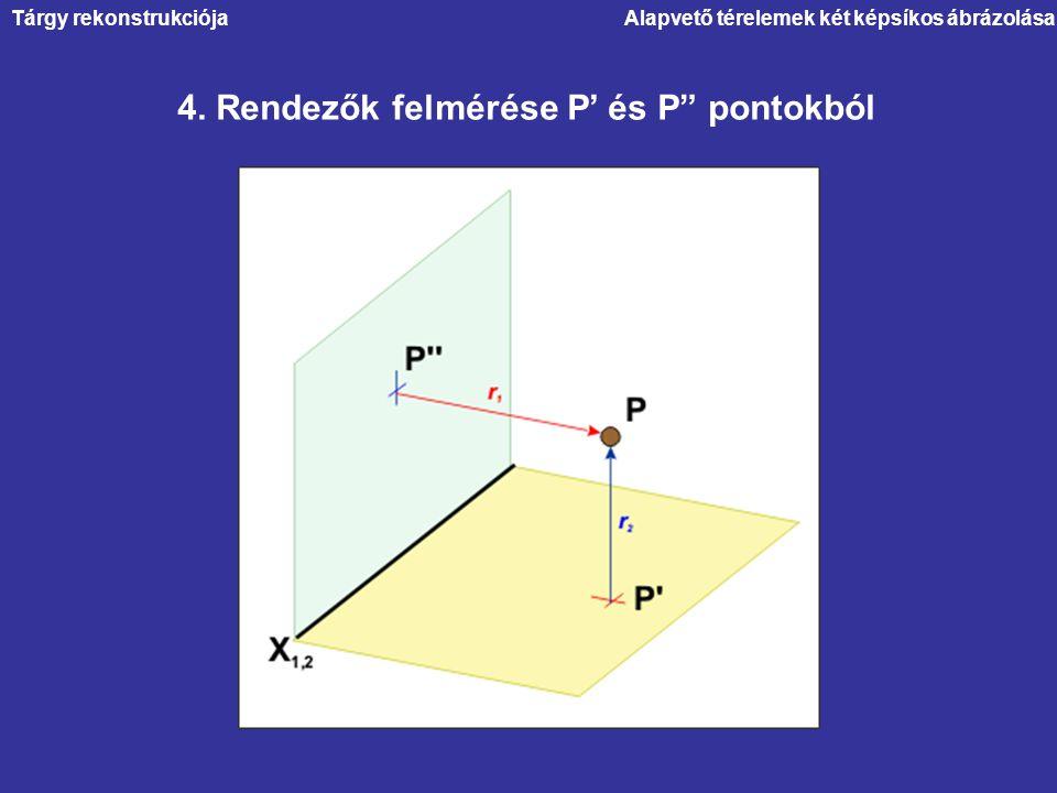 """Alapvető térelemek két képsíkos ábrázolása 4. Rendezők felmérése P' és P"""" pontokból Tárgy rekonstrukciója"""