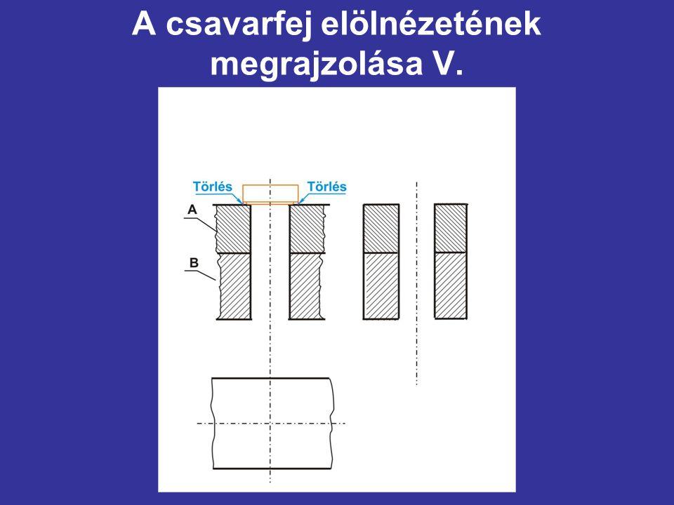 A csavarfej elölnézetének megrajzolása V.