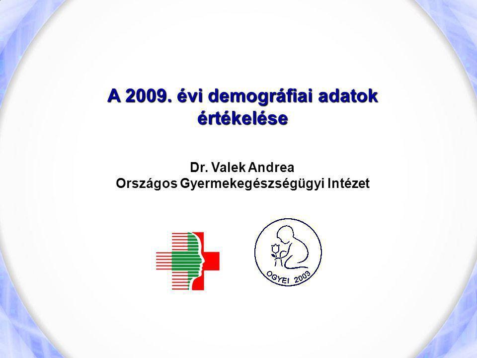 A 2009. évi demográfiai adatok értékelése Dr. Valek Andrea Országos Gyermekegészségügyi Intézet
