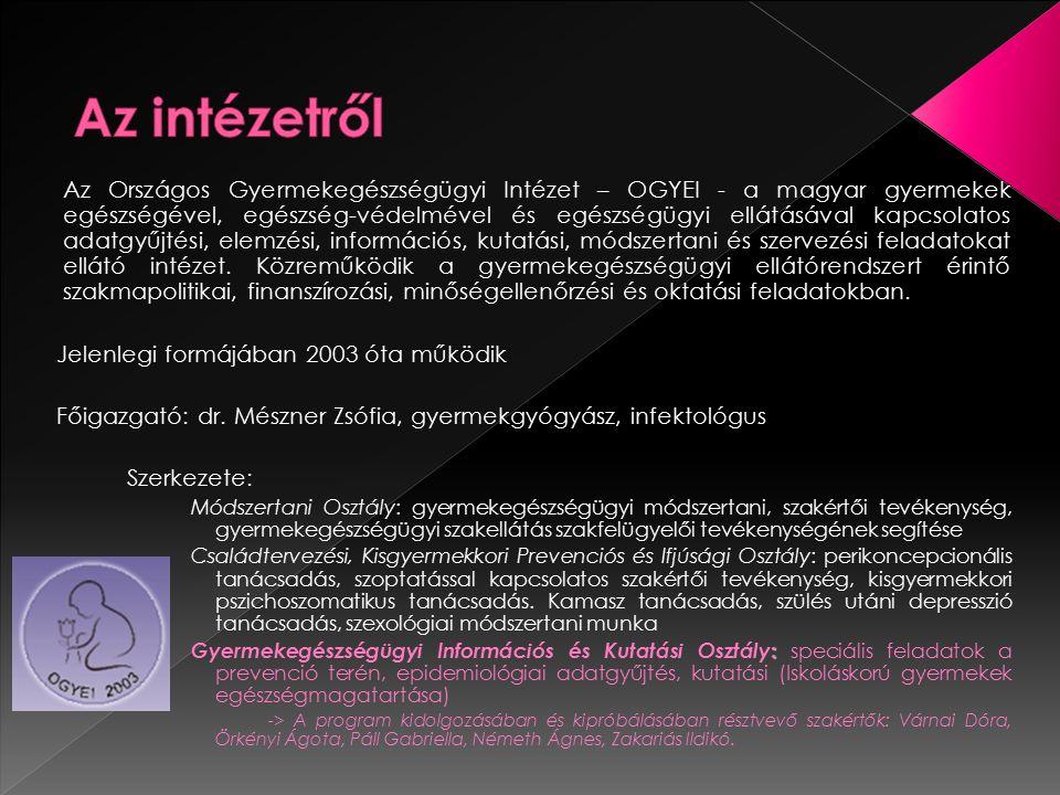 Az Országos Gyermekegészségügyi Intézet – OGYEI - a magyar gyermekek egészségével, egészség-védelmével és egészségügyi ellátásával kapcsolatos adatgyű