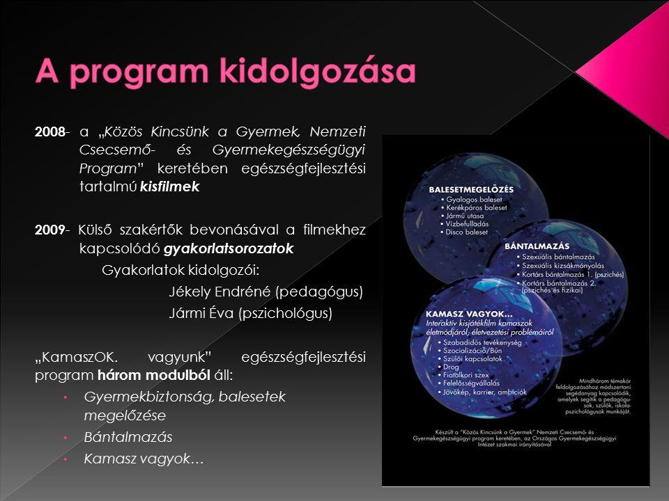 """2008 - a """"Közös Kincsünk a Gyermek, Nemzeti Csecsemő- és Gyermekegészségügyi Program"""" keretében egészségfejlesztési tartalmú kisfilmek 2009 - Külső sz"""