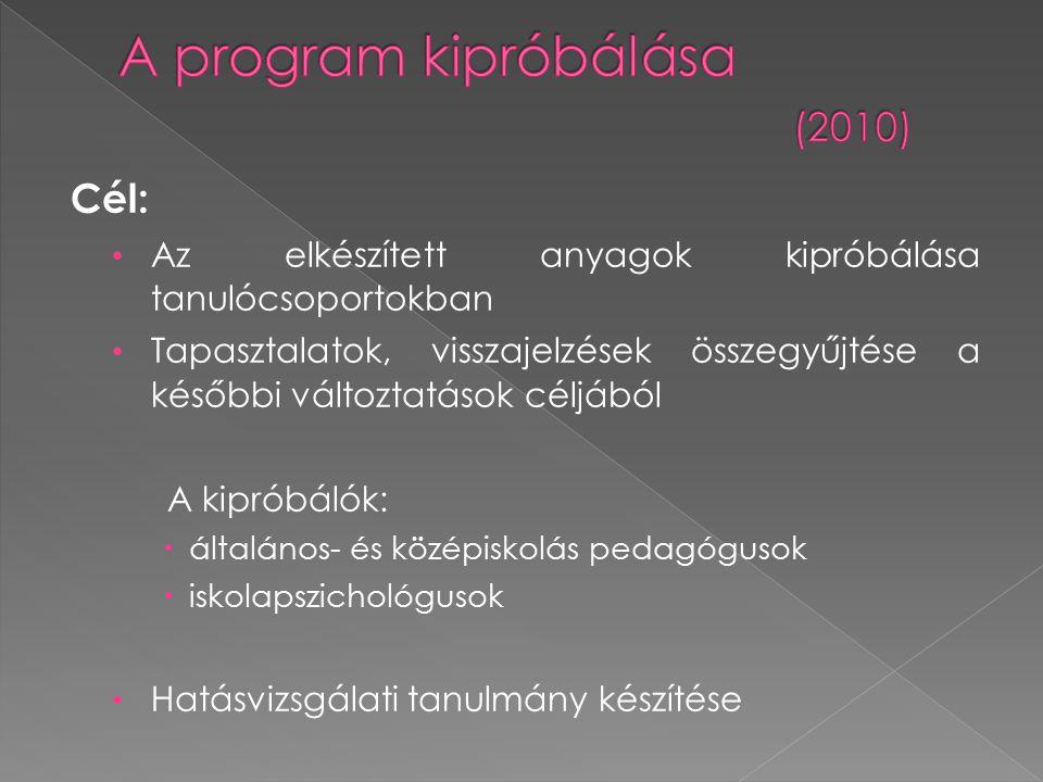 7 középiskolai pedagógus, 7 különböző középiskola, 208 tanuló Felkészítés A Kamaszok vagyunk és Bántalmazás modulok közül előre meghatározott, 6 témakör Tanórai keretben történő kipróbálás Hatás vizsgálata: Tanulók esetében: - kérdőív (elő/utóteszt) Pedagógusoknál:- jegyzőkönyv a megtartott foglalkozásokról, - csoportos konzultáció