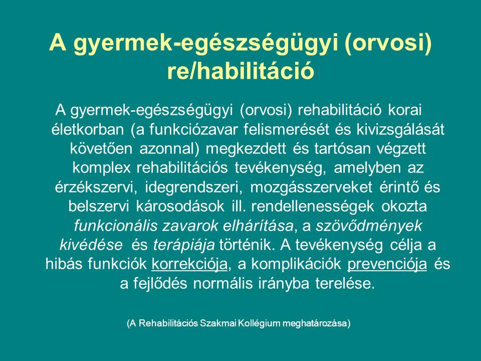 A gyermek-egészségügyi (orvosi) re/habilitáció A gyermek-egészségügyi (orvosi) rehabilitáció korai életkorban (a funkciózavar felismerését és kivizsgá