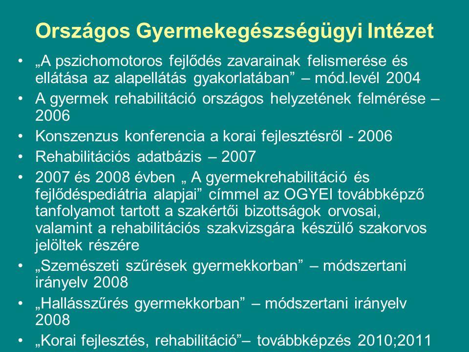 """Országos Gyermekegészségügyi Intézet """"A pszichomotoros fejlődés zavarainak felismerése és ellátása az alapellátás gyakorlatában"""" – mód.levél 2004 A gy"""