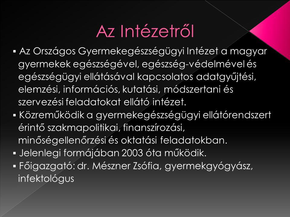  Az Országos Gyermekegészségügyi Intézet a magyar gyermekek egészségével, egészség-védelmével és egészségügyi ellátásával kapcsolatos adatgyűjtési, elemzési, információs, kutatási, módszertani és szervezési feladatokat ellátó intézet.