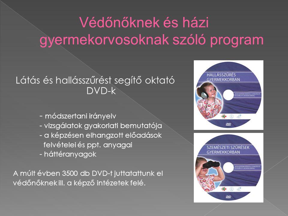 Látás és hallásszűrést segítő oktató DVD-k - módszertani irányelv - vizsgálatok gyakorlati bemutatója - a képzésen elhangzott előadások felvételei és ppt.
