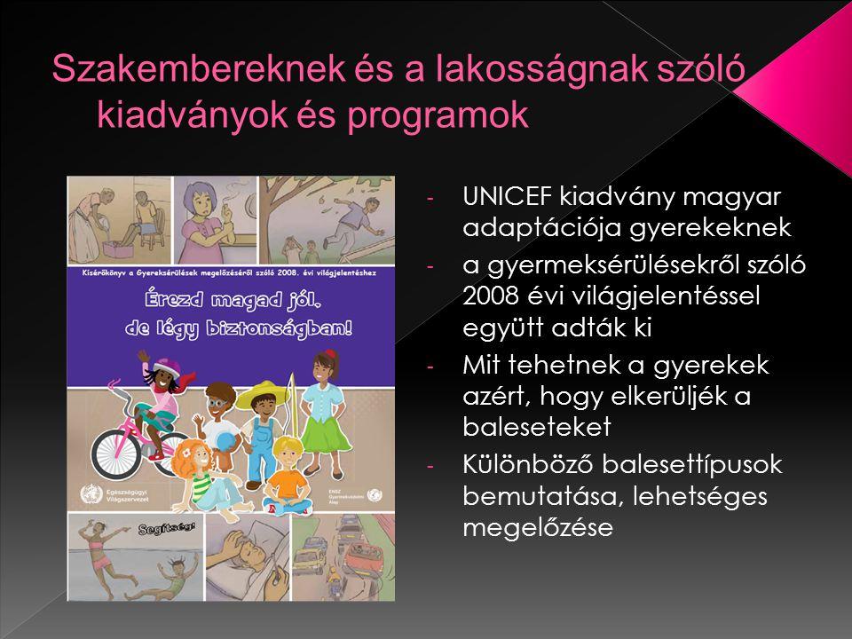 - UNICEF kiadvány magyar adaptációja gyerekeknek - a gyermeksérülésekről szóló 2008 évi világjelentéssel együtt adták ki - Mit tehetnek a gyerekek azért, hogy elkerüljék a baleseteket - Különböző balesettípusok bemutatása, lehetséges megelőzése