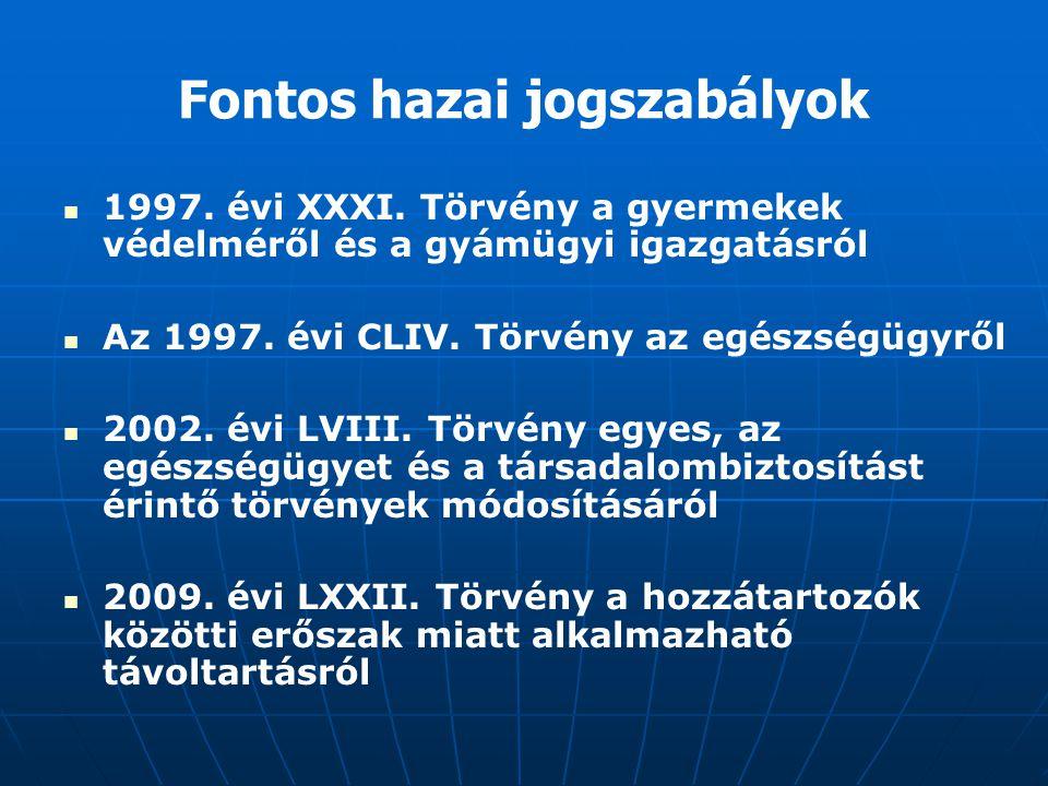 Fontos hazai jogszabályok 1997. évi XXXI. Törvény a gyermekek védelméről és a gyámügyi igazgatásról Az 1997. évi CLIV. Törvény az egészségügyről 2002.