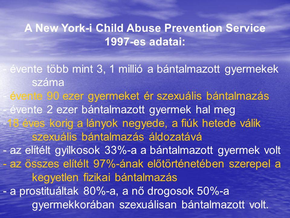 A New York-i Child Abuse Prevention Service 1997-es adatai: - évente több mint 3, 1 millió a bántalmazott gyermekek száma - évente 90 ezer gyermeket é