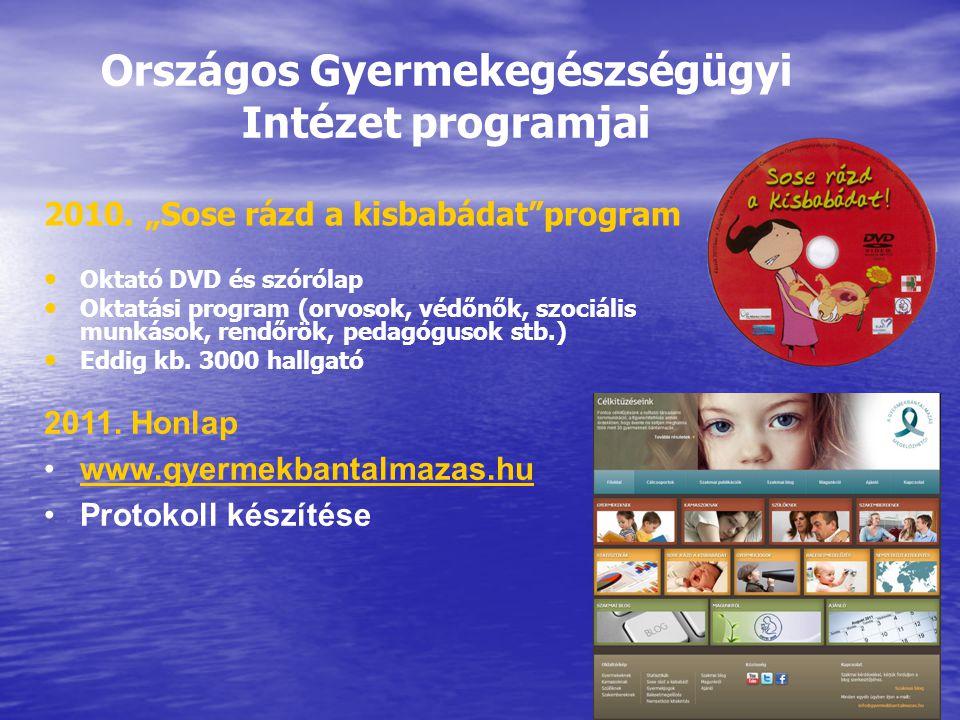 """Országos Gyermekegészségügyi Intézet programjai 2010. """"Sose rázd a kisbabádat""""program Oktató DVD és szórólap Oktatási program (orvosok, védőnők, szoci"""