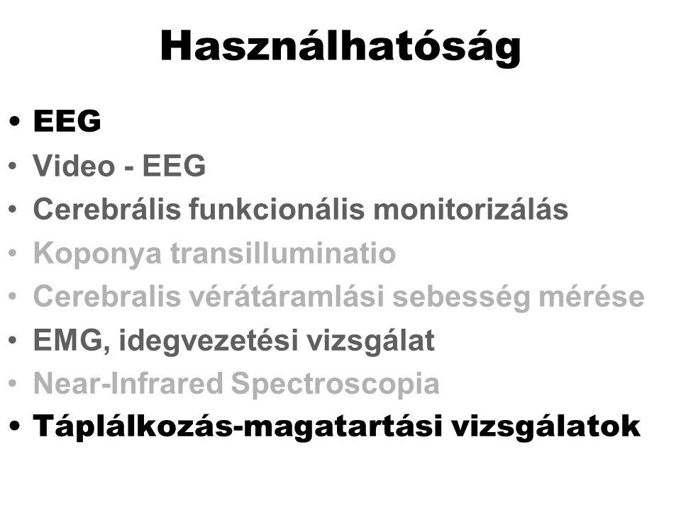 Használhatóság EEG Video - EEG Cerebrális funkcionális monitorizálás Koponya transilluminatio Cerebralis vérátáramlási sebesség mérése EMG, idegvezeté