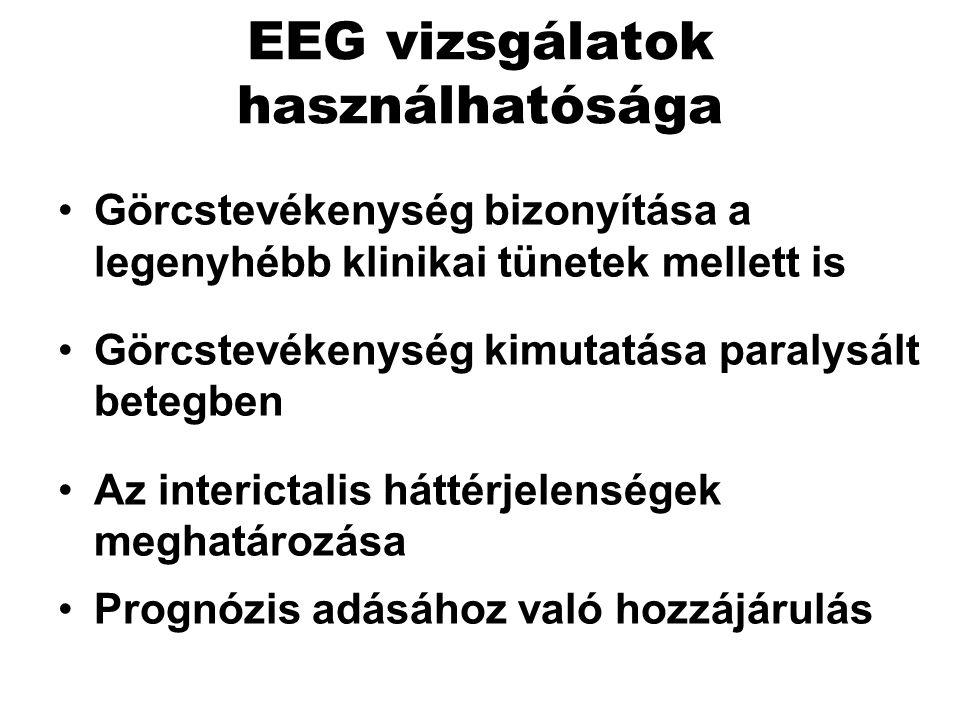EEG vizsgálatok használhatósága Görcstevékenység bizonyítása a legenyhébb klinikai tünetek mellett is Görcstevékenység kimutatása paralysált betegben Az interictalis háttérjelenségek meghatározása Prognózis adásához való hozzájárulás