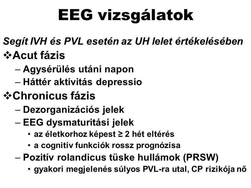 EEG vizsgálatok Segít IVH és PVL esetén az UH lelet értékelésében  Acut fázis –Agysérülés utáni napon –Háttér aktivitás depressio  Chronicus fázis –Dezorganizációs jelek –EEG dysmaturitási jelek az életkorhoz képest ≥ 2 hét eltérés a cognitív funkciók rossz prognózisa –Pozitív rolandicus tüske hullámok (PRSW) gyakori megjelenés súlyos PVL-ra utal, CP rizikója nő