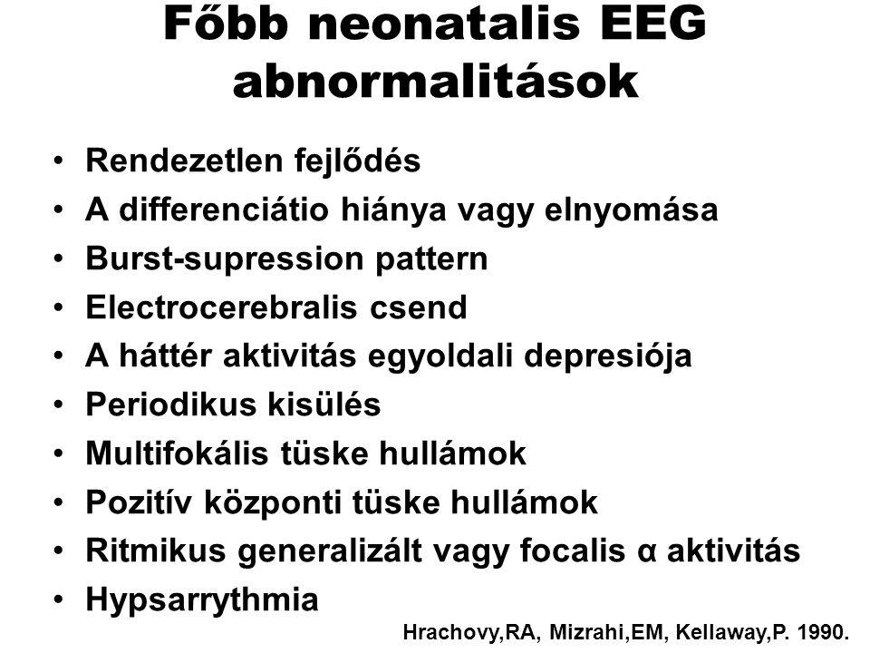 Főbb neonatalis EEG abnormalitások Rendezetlen fejlődés A differenciátio hiánya vagy elnyomása Burst-supression pattern Electrocerebralis csend A hátt