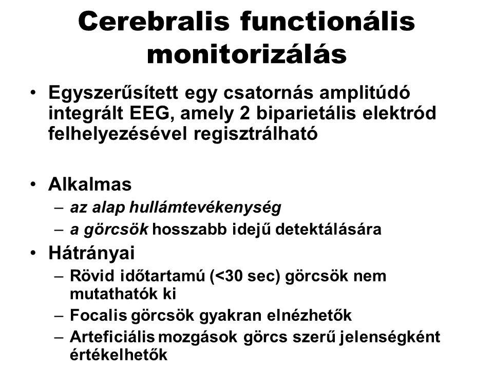 Cerebralis functionális monitorizálás Egyszerűsített egy csatornás amplitúdó integrált EEG, amely 2 biparietális elektród felhelyezésével regisztrálható Alkalmas –az alap hullámtevékenység –a görcsök hosszabb idejű detektálására Hátrányai –Rövid időtartamú (<30 sec) görcsök nem mutathatók ki –Focalis görcsök gyakran elnézhetők –Arteficiális mozgások görcs szerű jelenségként értékelhetők