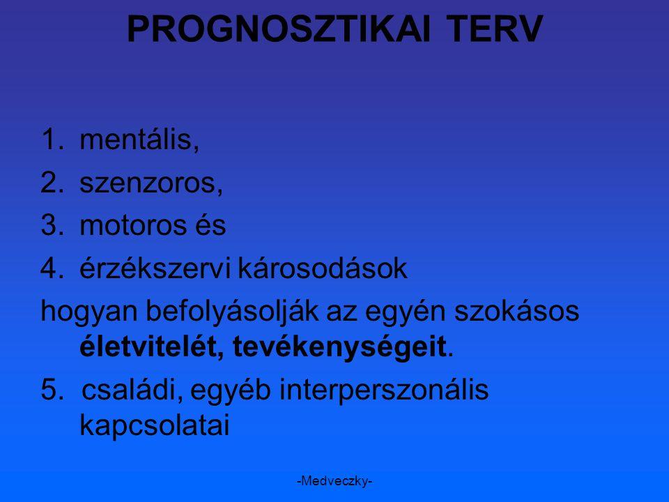 -Medveczky- PROGNOSZTIKAI TERV 1.mentális, 2.szenzoros, 3.motoros és 4.érzékszervi károsodások hogyan befolyásolják az egyén szokásos életvitelét, tev