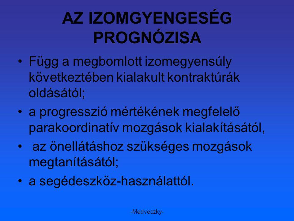 -Medveczky- AZ IZOMGYENGESÉG PROGNÓZISA Függ a megbomlott izomegyensúly következtében kialakult kontraktúrák oldásától; a progresszió mértékének megfe