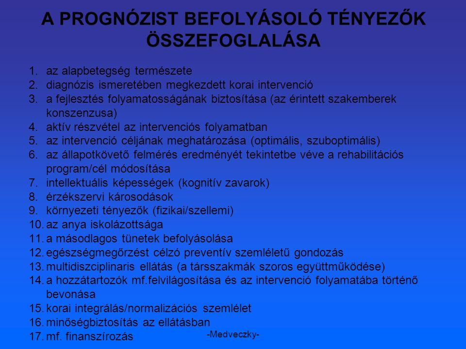 -Medveczky- A PROGNÓZIST BEFOLYÁSOLÓ TÉNYEZŐK ÖSSZEFOGLALÁSA 1.az alapbetegség természete 2.diagnózis ismeretében megkezdett korai intervenció 3.a fej