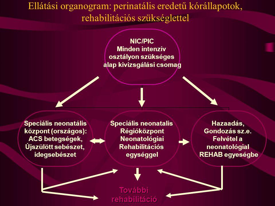 Ellátási organogram: perinatális eredetű kórállapotok, rehabilitációs szükséglettel NIC/PIC Minden intenzív osztályon szükséges alap kivizsgálási csomag Speciális neonatális központ (országos): ACS betegségek, Újszülött sebészet, idegsebészet Speciális neonatalis Régióközpont Neonatológiai Rehabilitációs egységgel Hazaadás, Gondozás sz.e.