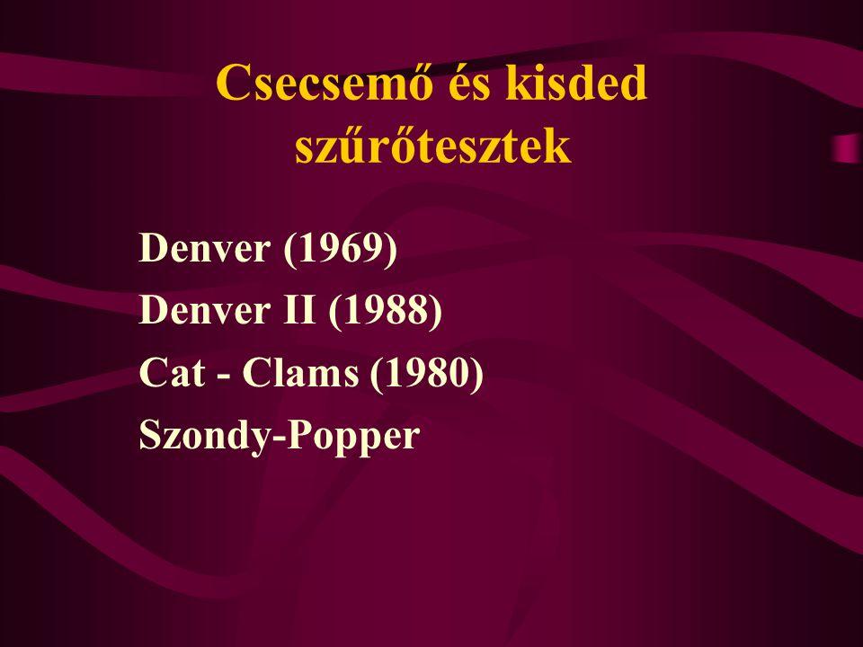 Csecsemő és kisded szűrőtesztek Denver (1969) Denver II (1988) Cat - Clams (1980) Szondy-Popper