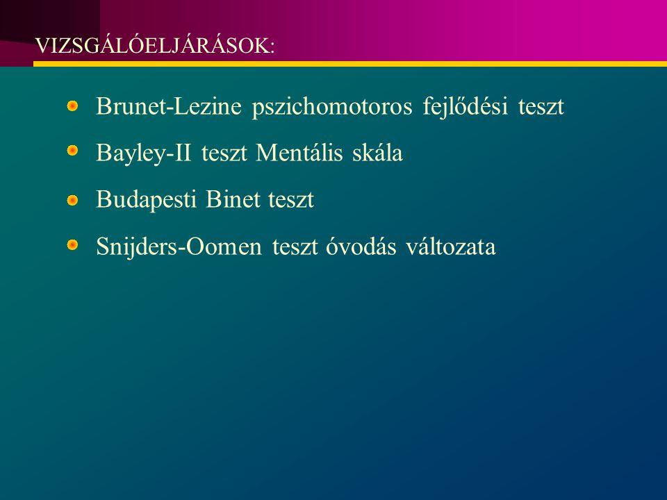 VIZSGÁLÓELJÁRÁSOK: Brunet-Lezine pszichomotoros fejlődési teszt Bayley-II teszt Mentális skála Budapesti Binet teszt Snijders-Oomen teszt óvodás változata