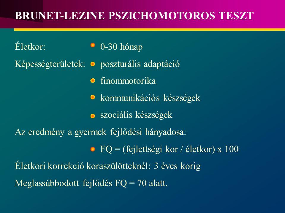Életkor: 0-30 hónap Képességterületek: poszturális adaptáció finommotorika kommunikációs készségek szociális készségek Az eredmény a gyermek fejlődési hányadosa: FQ = (fejlettségi kor / életkor) x 100 Életkori korrekció koraszülötteknél: 3 éves korig Meglassúbbodott fejlődés FQ = 70 alatt.