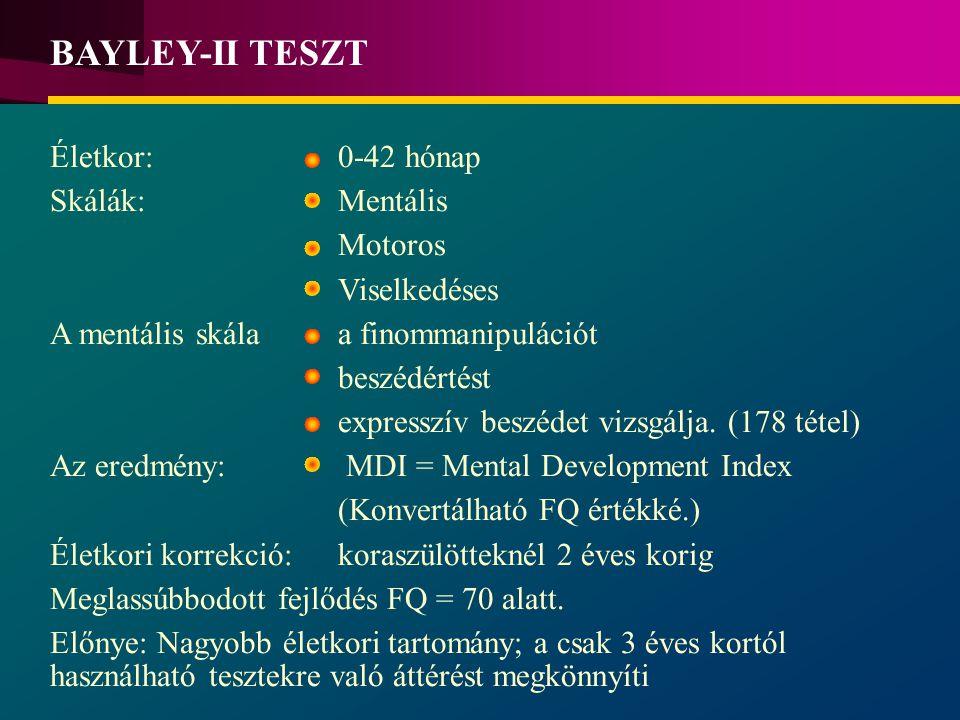 BAYLEY-II TESZT Életkor: 0-42 hónap Skálák: Mentális Motoros Viselkedéses A mentális skála a finommanipulációt beszédértést expresszív beszédet vizsgálja.