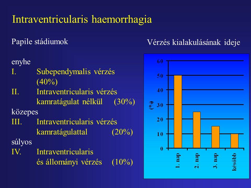 Halláskárosodás rizikó faktorai koraszülöttekben HalláskárosodottKontroll n=22n=25 Apgar pont 1 perces7,18  2,018,33  0,86 * 5 perces 8,72  1,42 9,