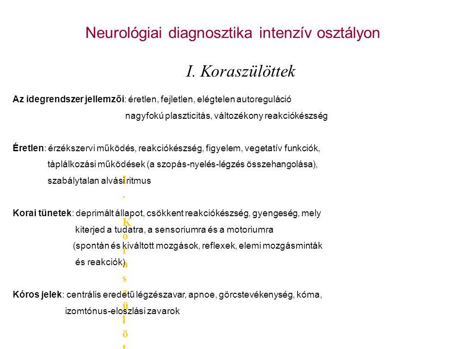 A koraszülöttek neurológiai károsodásának okai Szövődmények, a kezelések következtében kialakuló károsodások Agykamrai vérzés, ischaemiás károsodások, cisztás PVL, posthaemorrhagicus hydrocephalus Fertőzések Agyi anyagcsere betegségek (hypoglycaemia, AS acs.